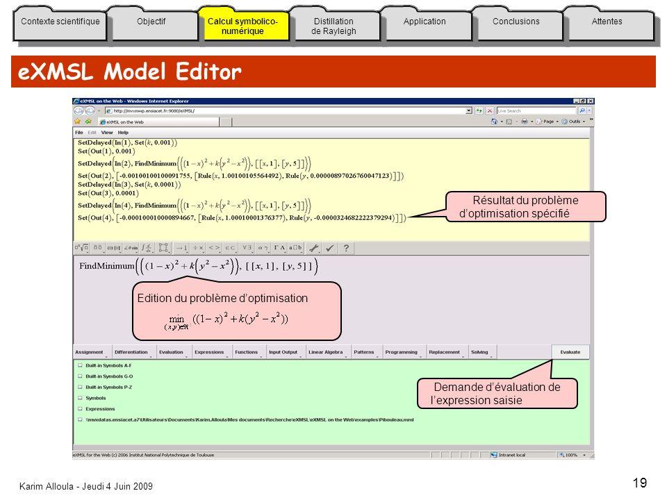 eXMSL Model Editor Résultat du problème d'optimisation spécifié
