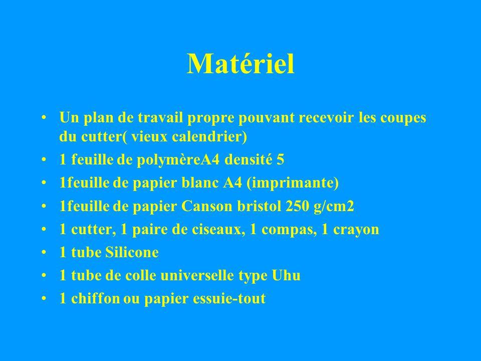 MatérielUn plan de travail propre pouvant recevoir les coupes du cutter( vieux calendrier) 1 feuille de polymèreA4 densité 5.