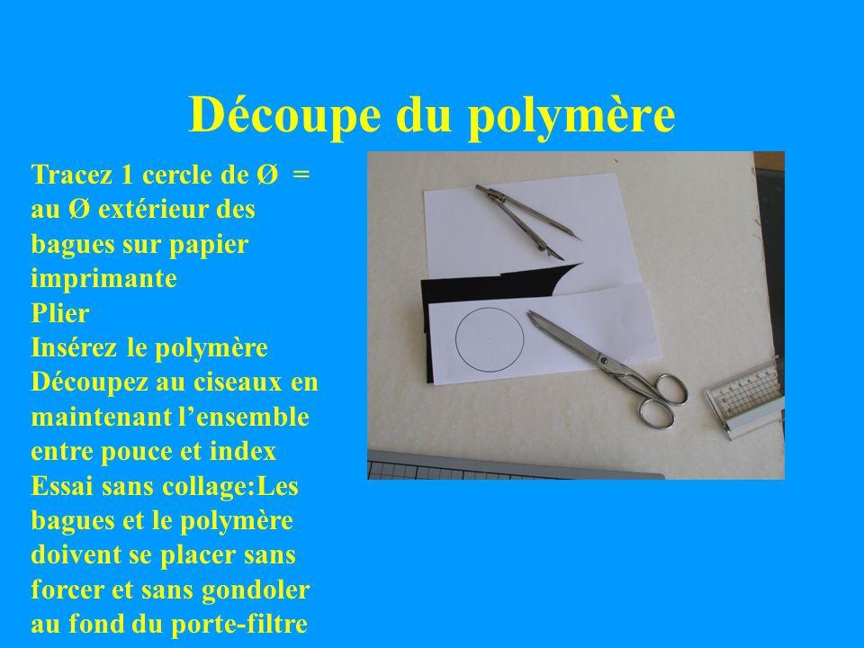 Découpe du polymèreTracez 1 cercle de Ø = au Ø extérieur des bagues sur papier imprimante. Plier. Insérez le polymère.