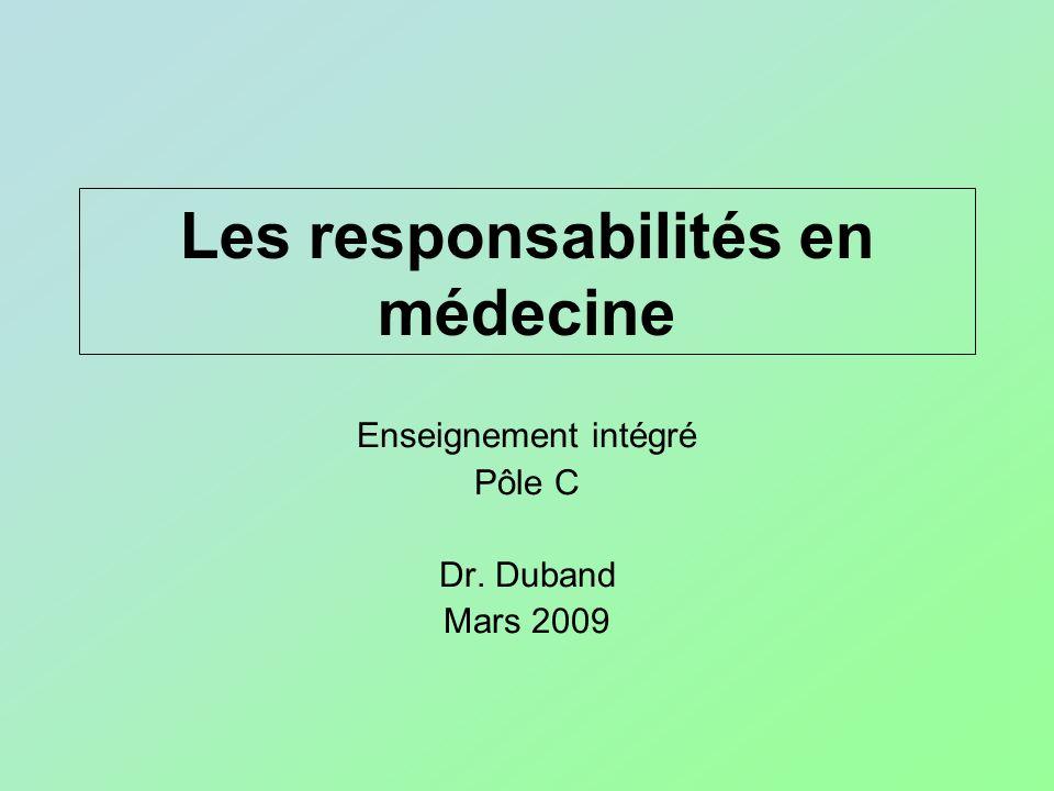 Les responsabilités en médecine