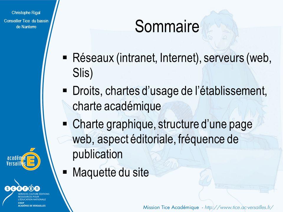 Sommaire Réseaux (intranet, Internet), serveurs (web, Slis)