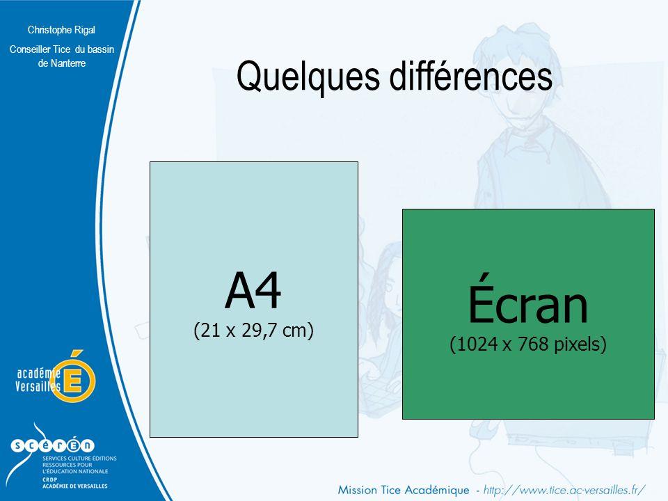 Quelques différences A4 (21 x 29,7 cm) Écran (1024 x 768 pixels)