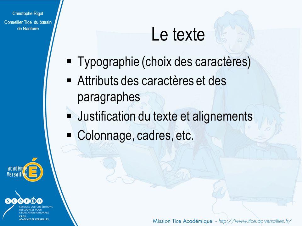 Le texte Typographie (choix des caractères)