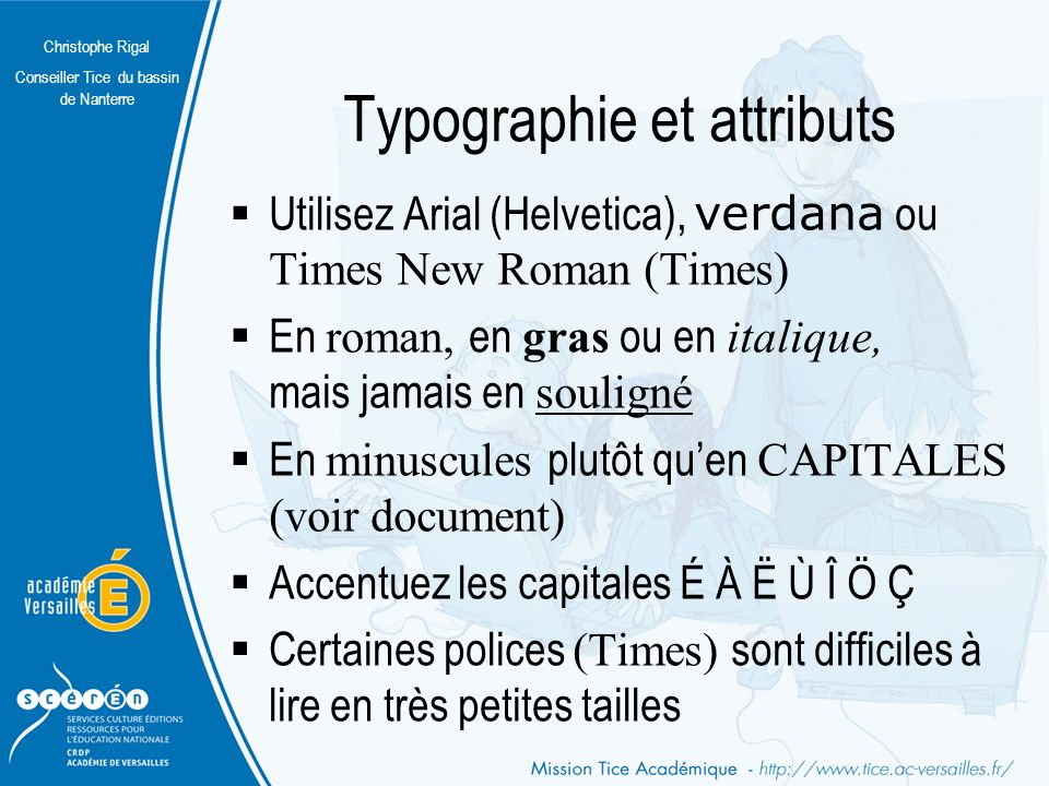 Typographie et attributs
