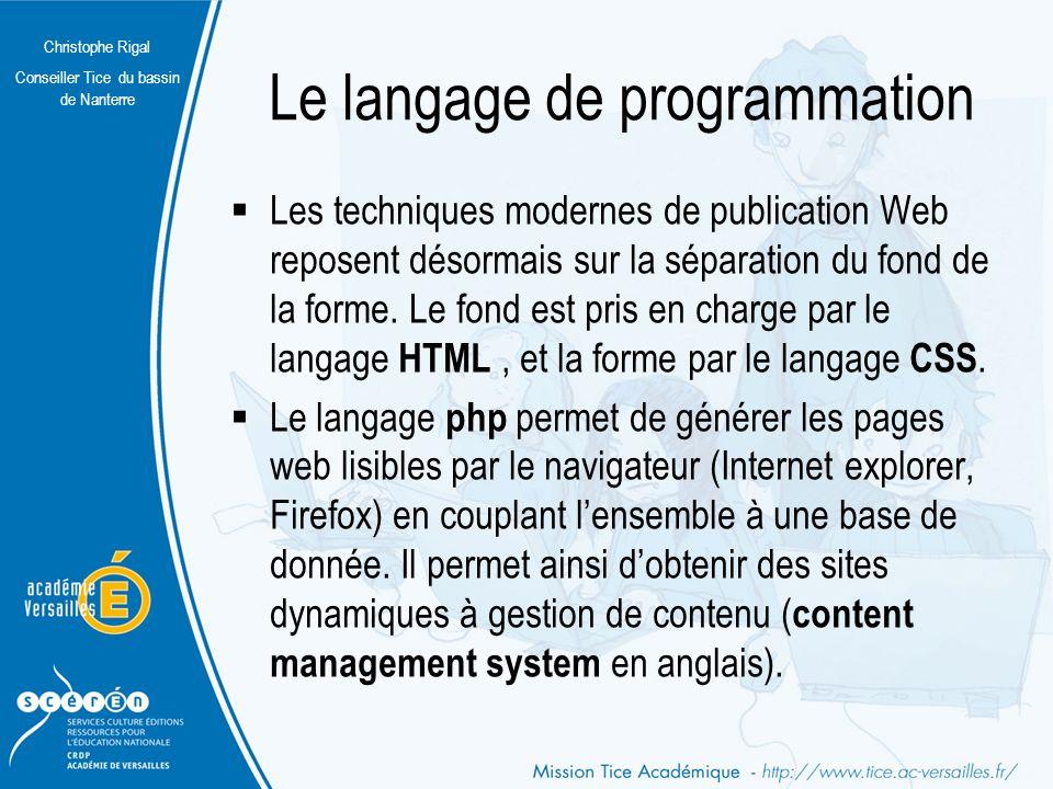 Le langage de programmation