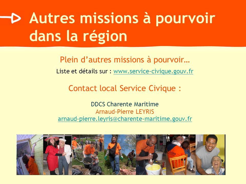 Autres missions à pourvoir dans la région