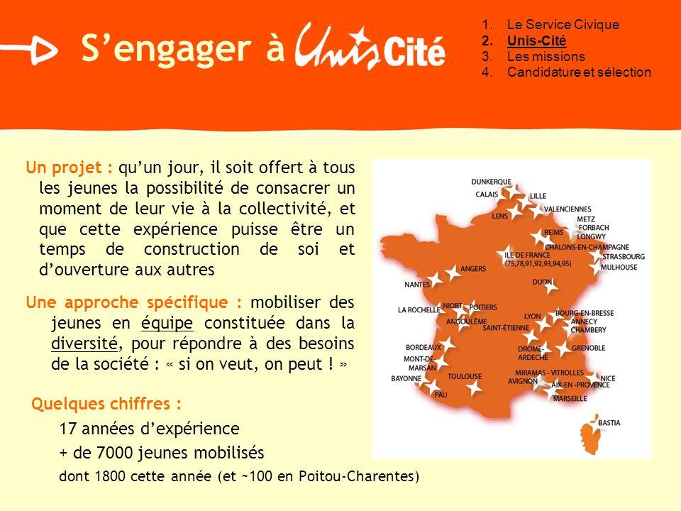 Le Service CiviqueUnis-Cité. Les missions. Candidature et sélection. S'engager à.