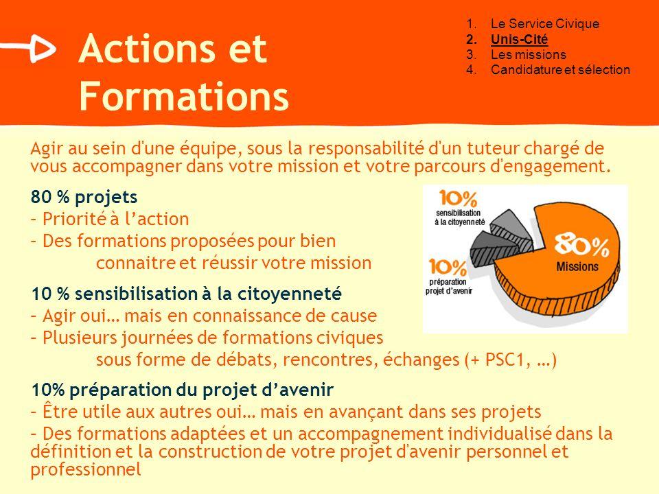 Le Service Civique Unis-Cité. Les missions. Candidature et sélection. Actions et Formations.