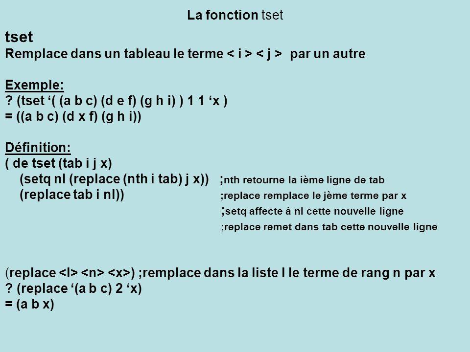La fonction tset tset. Remplace dans un tableau le terme < i > < j > par un autre. Exemple: (tset '( (a b c) (d e f) (g h i) ) 1 1 'x )