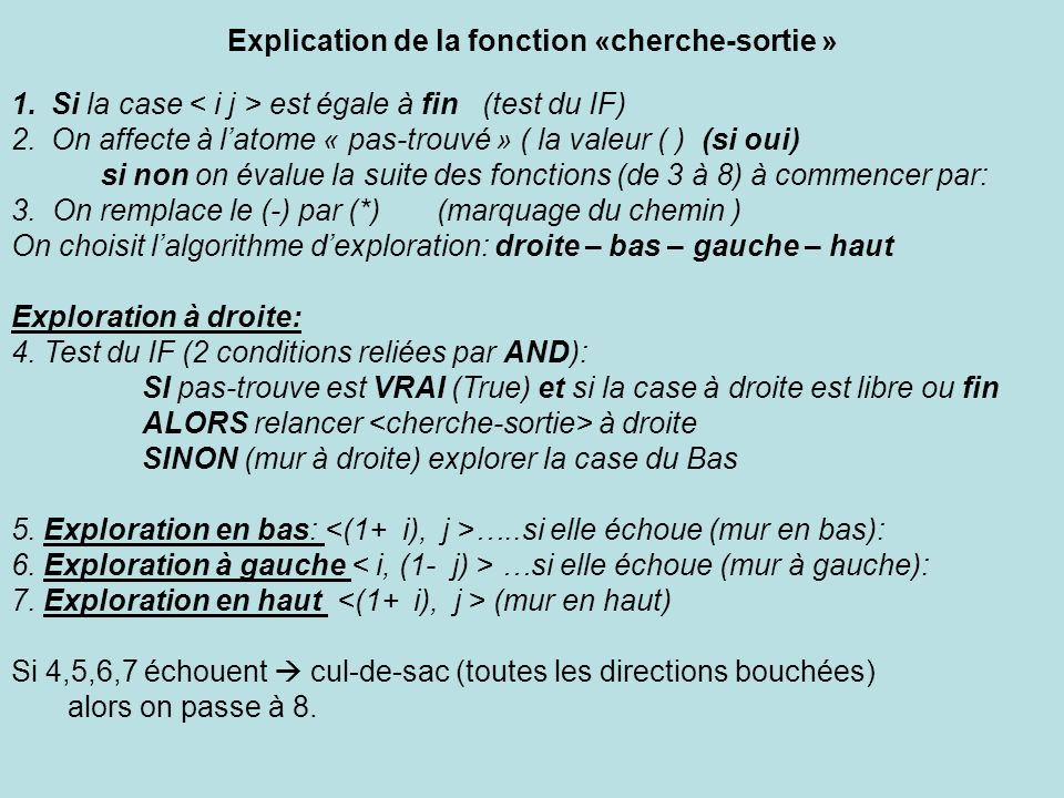 Explication de la fonction «cherche-sortie »