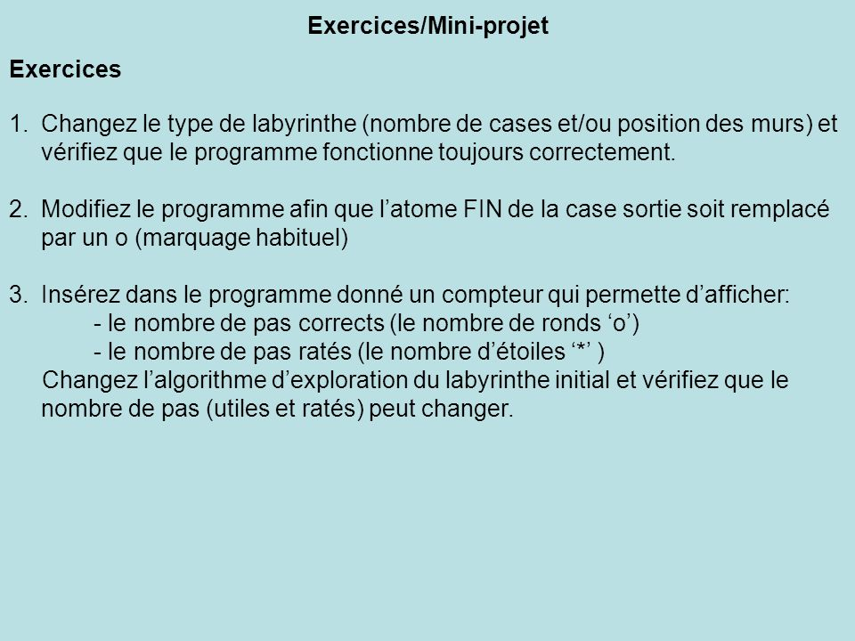 Exercices/Mini-projet