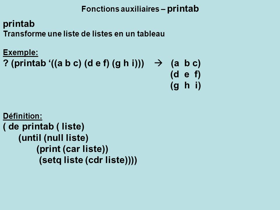 Fonctions auxiliaires – printab