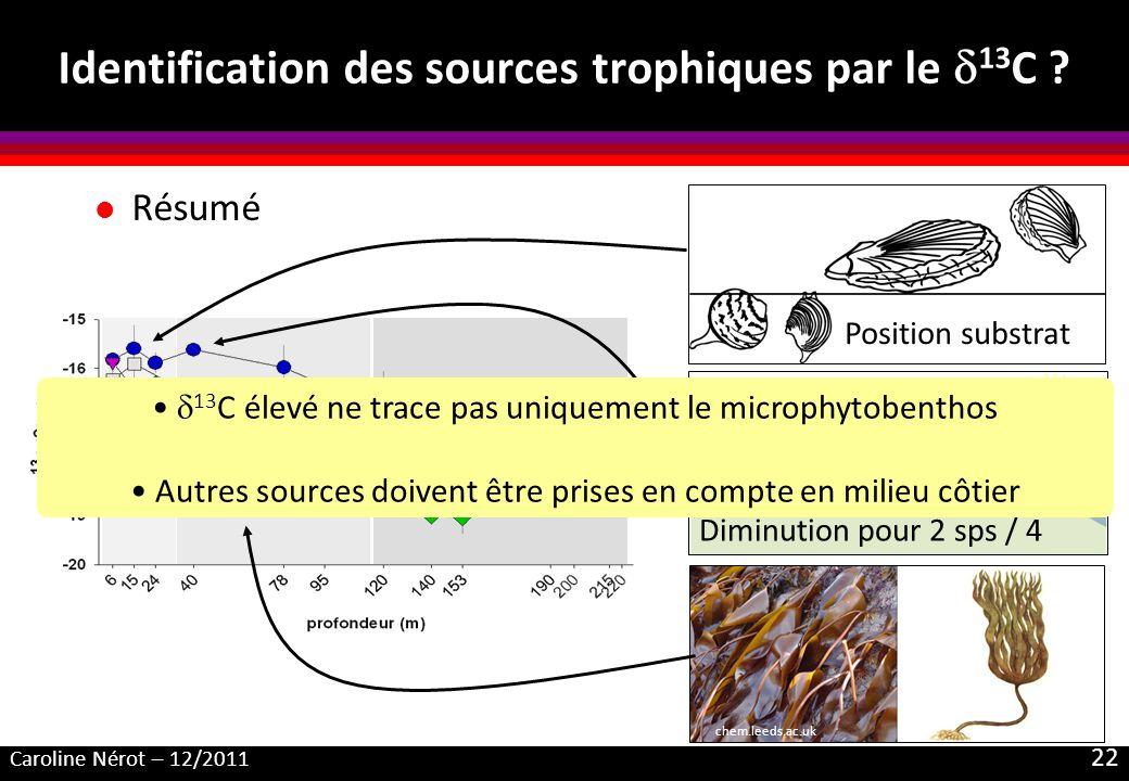 Identification des sources trophiques par le d13C