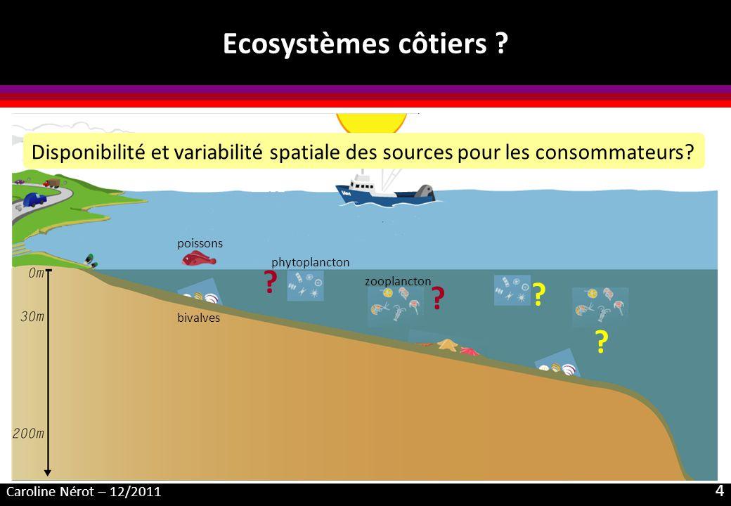 Ecosystèmes côtiers Disponibilité et variabilité spatiale des sources pour les consommateurs poissons.