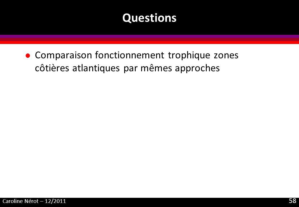 Questions Comparaison fonctionnement trophique zones côtières atlantiques par mêmes approches