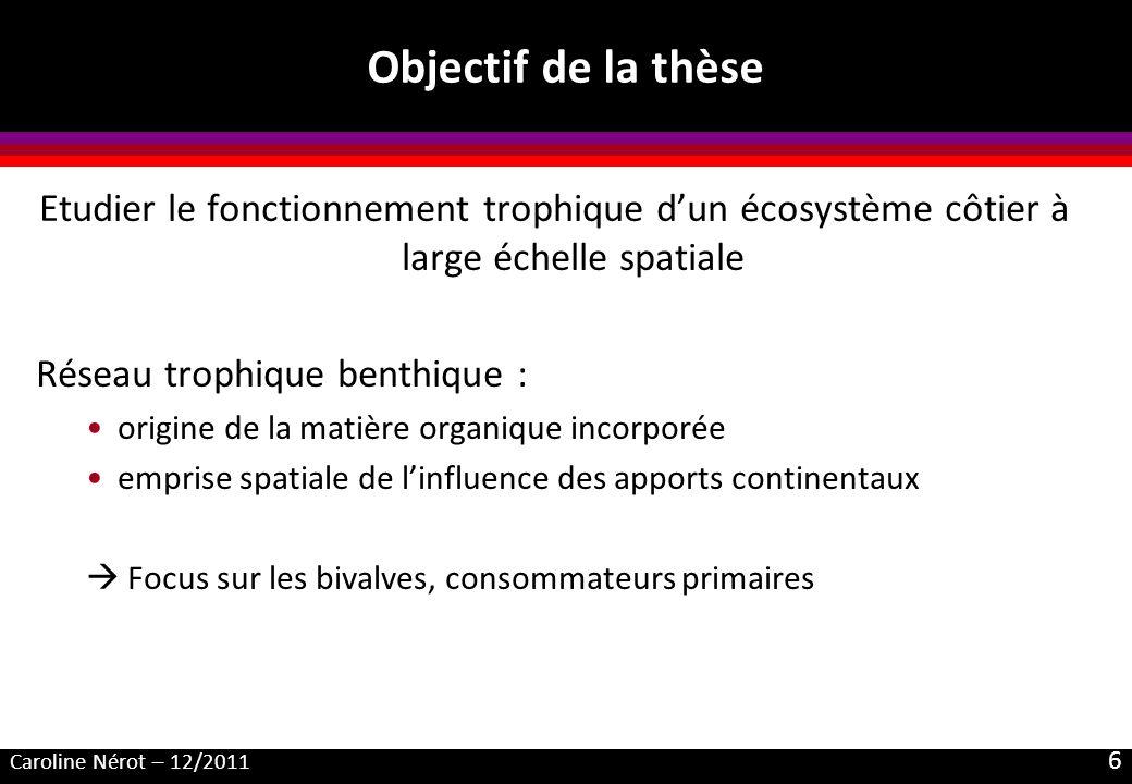 Objectif de la thèse Etudier le fonctionnement trophique d'un écosystème côtier à large échelle spatiale.