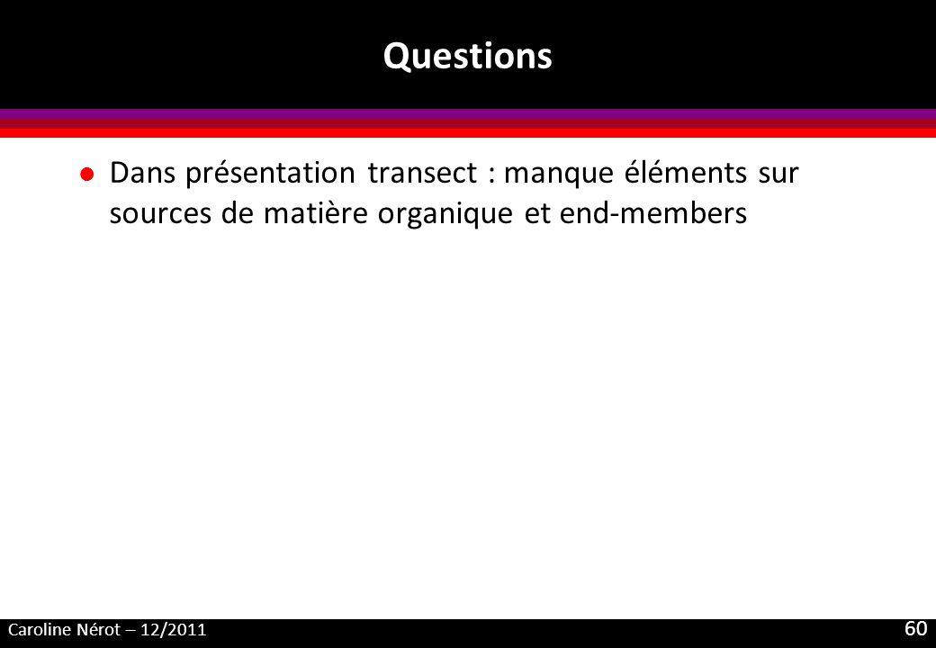 Questions Dans présentation transect : manque éléments sur sources de matière organique et end-members.
