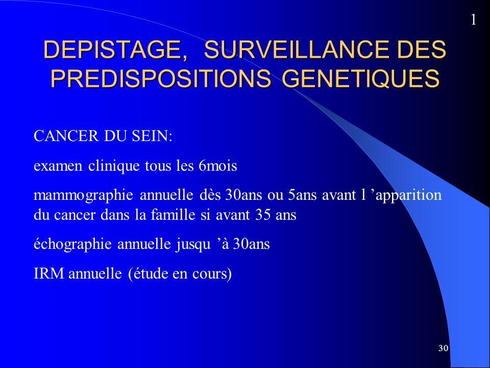 DEPISTAGE, SURVEILLANCE DES PREDISPOSITIONS GENETIQUES