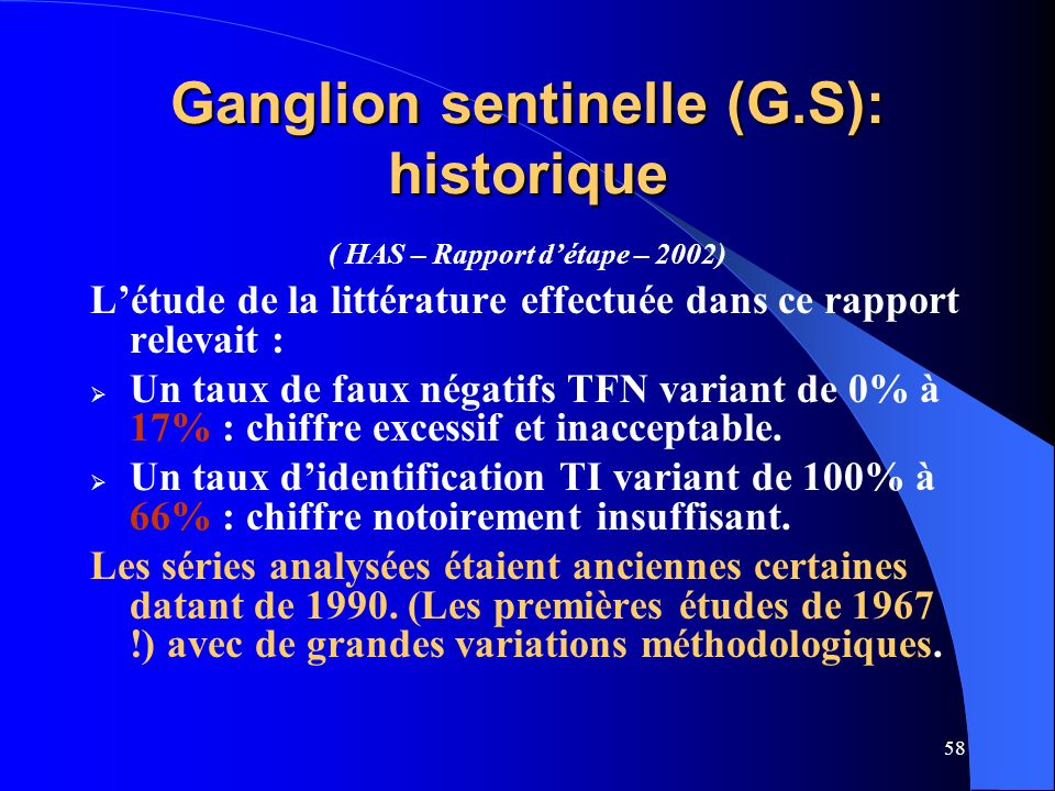 Ganglion sentinelle (G.S): historique