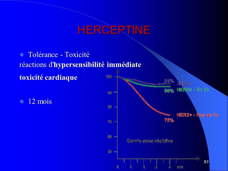 HERCEPTINE Tolérance - Toxicité réactions d hypersensibilité immédiate