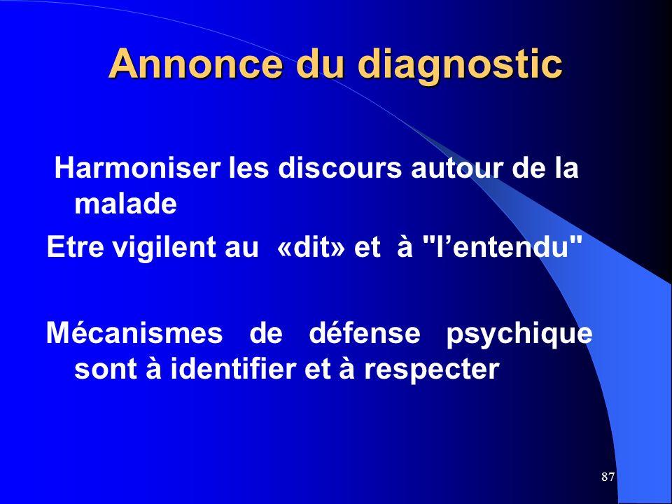 Annonce du diagnostic Harmoniser les discours autour de la malade