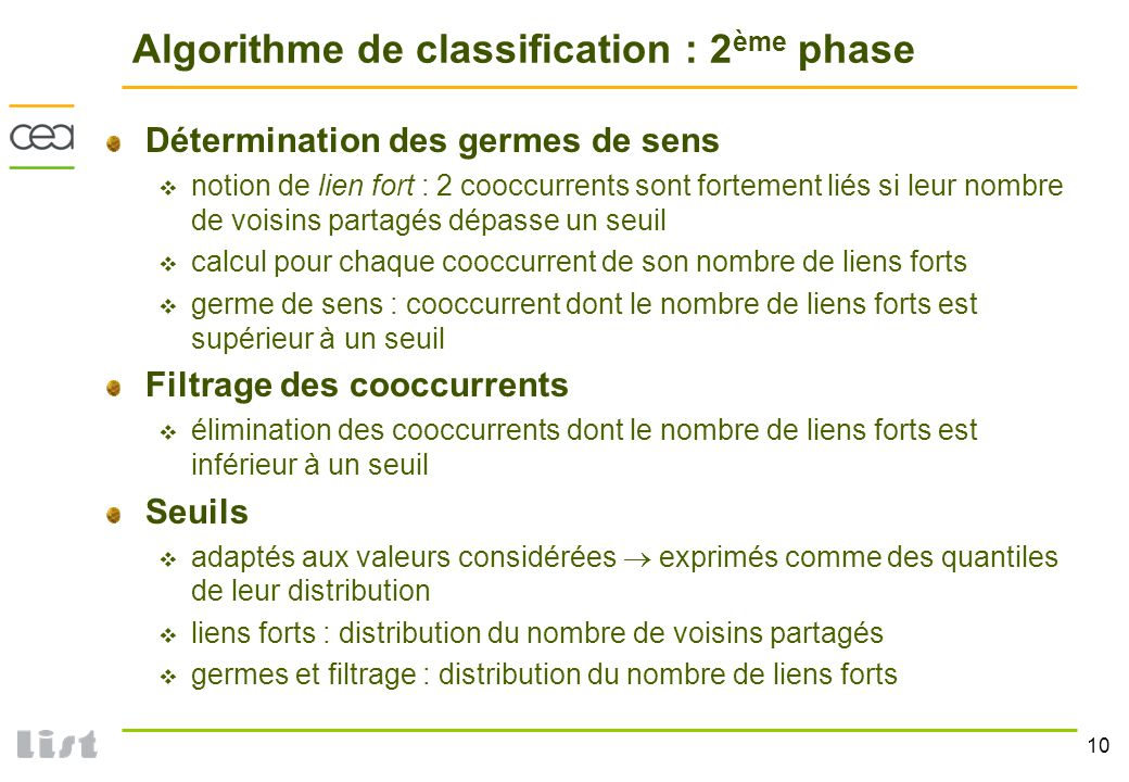 Algorithme de classification : 2ème phase