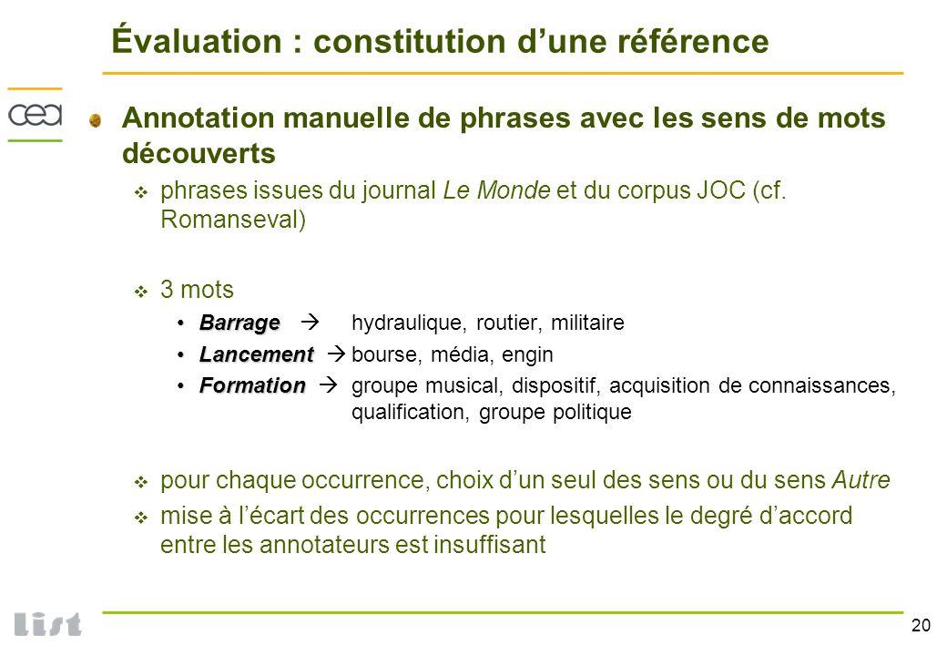 Évaluation : constitution d'une référence