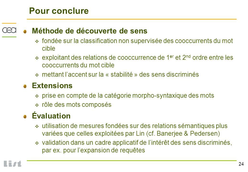 Pour conclure Méthode de découverte de sens Extensions Évaluation