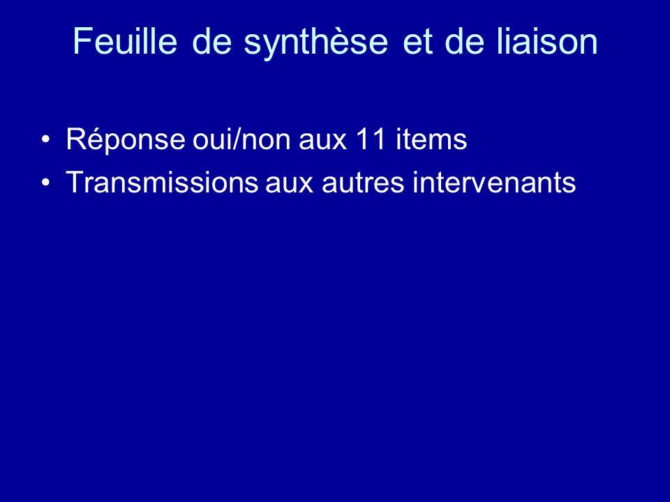 Feuille de synthèse et de liaison