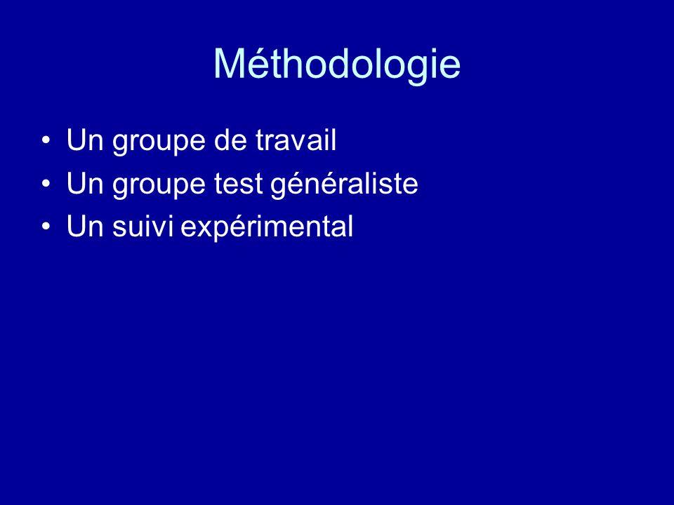 Méthodologie Un groupe de travail Un groupe test généraliste
