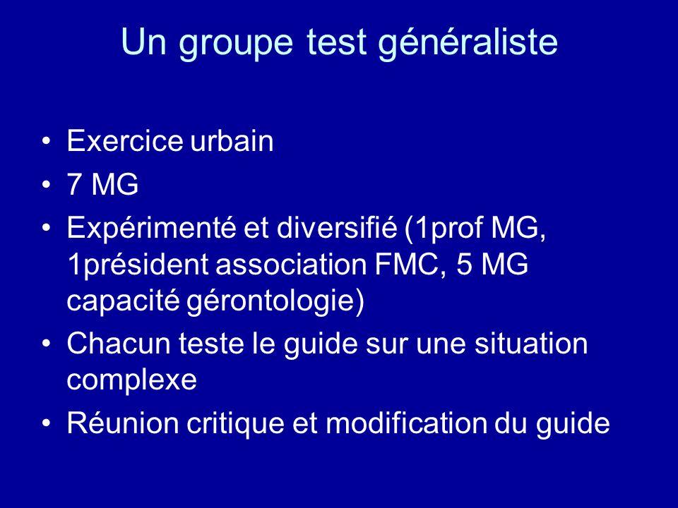 Un groupe test généraliste