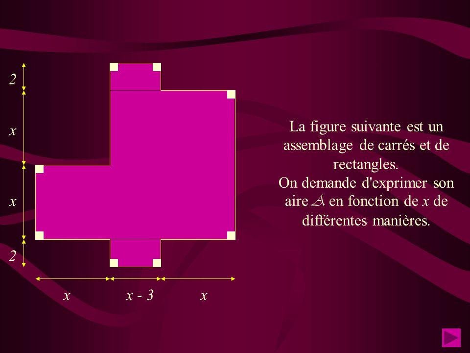 La figure suivante est un assemblage de carrés et de rectangles.