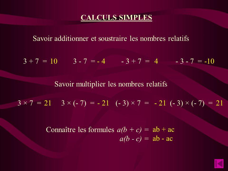 Savoir additionner et soustraire les nombres relatifs