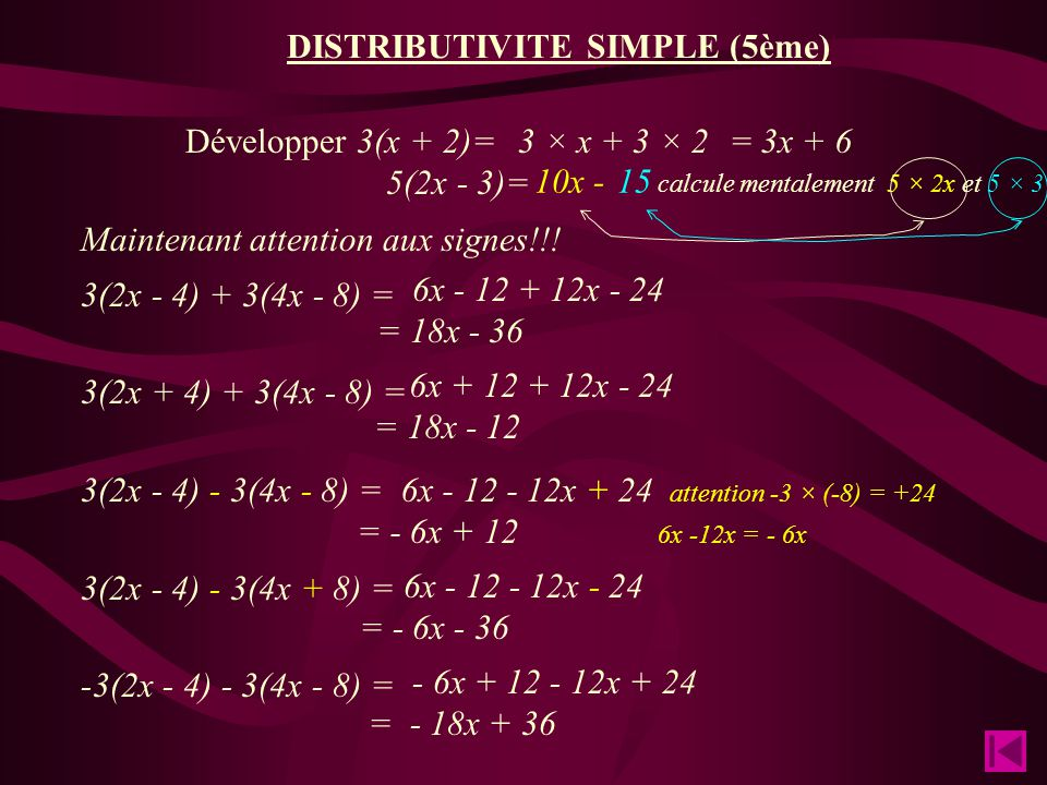 DISTRIBUTIVITE SIMPLE (5ème)