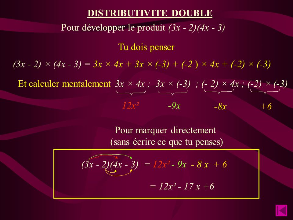 DISTRIBUTIVITE DOUBLE