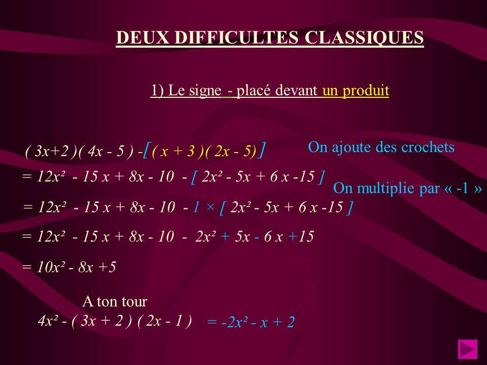 DEUX DIFFICULTES CLASSIQUES
