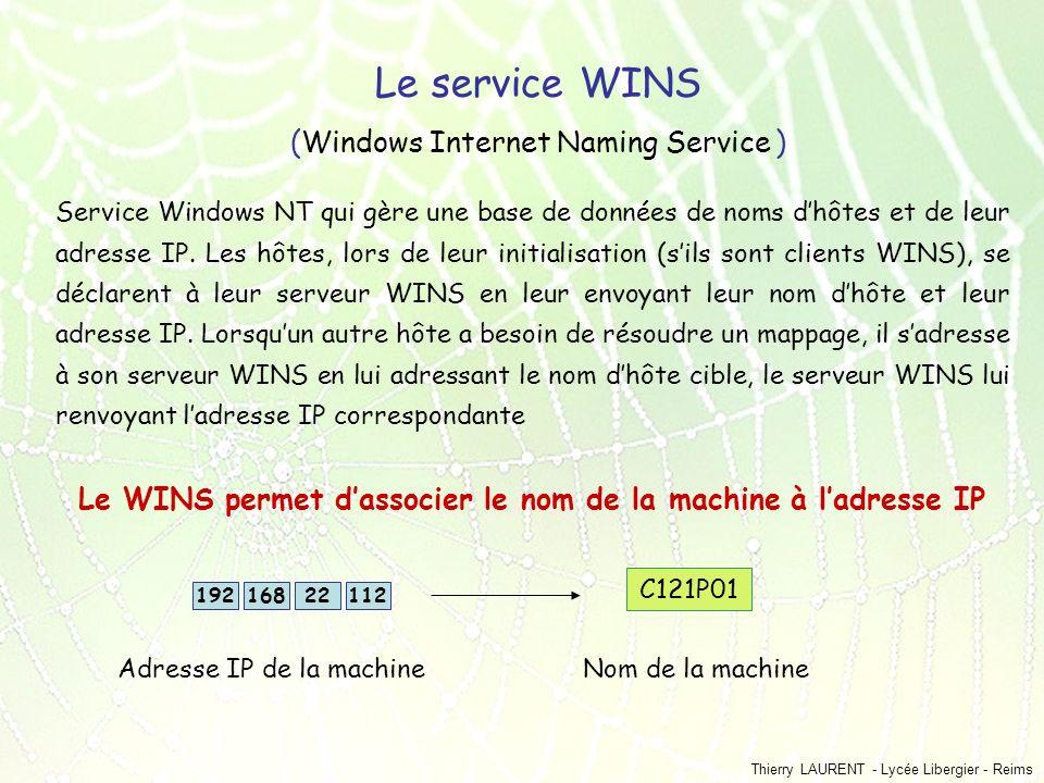 Le WINS permet d'associer le nom de la machine à l'adresse IP