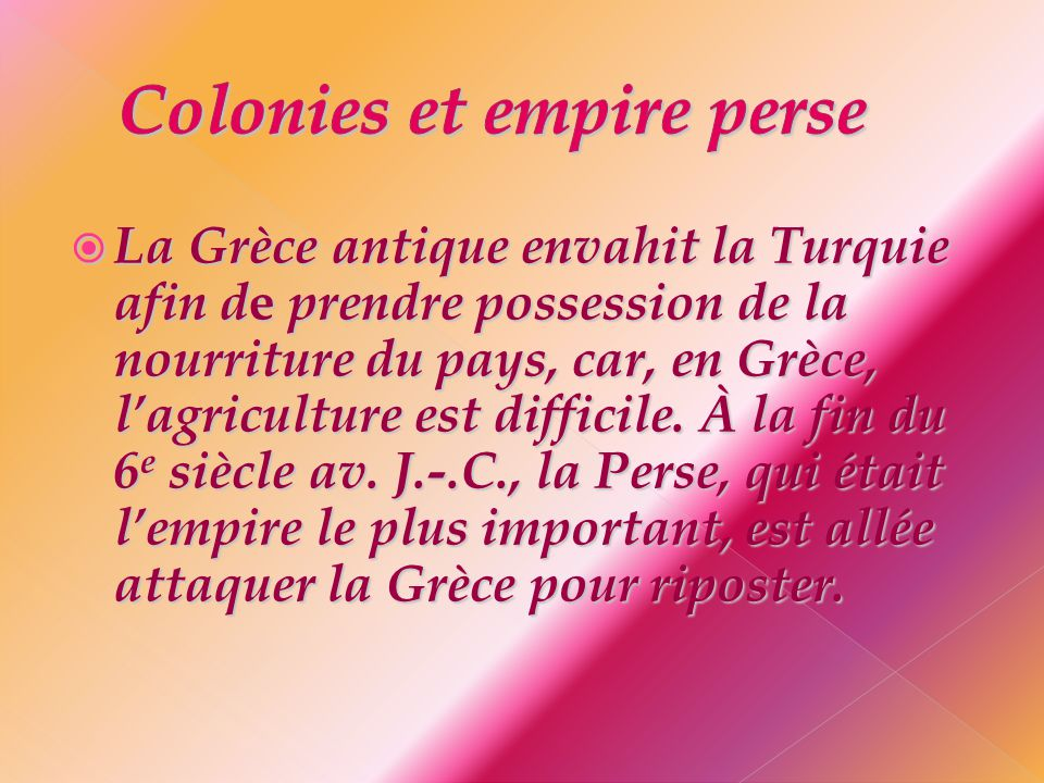 Colonies et empire perse