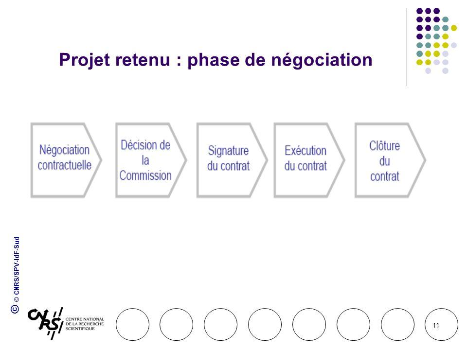Projet retenu : phase de négociation