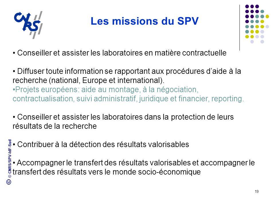 Les missions du SPVConseiller et assister les laboratoires en matière contractuelle.