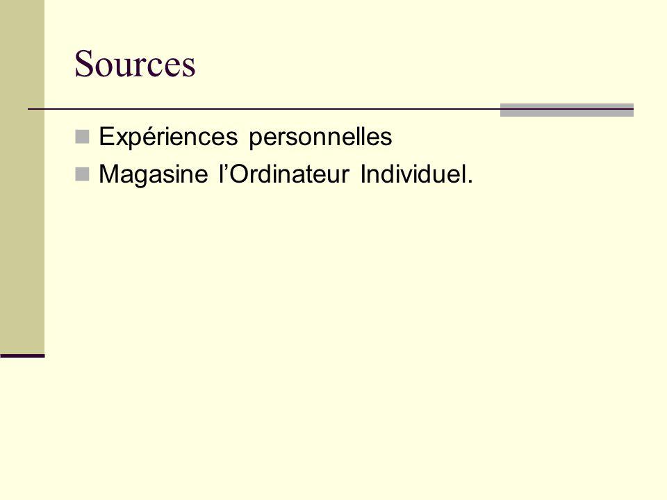 Sources Expériences personnelles Magasine l'Ordinateur Individuel.