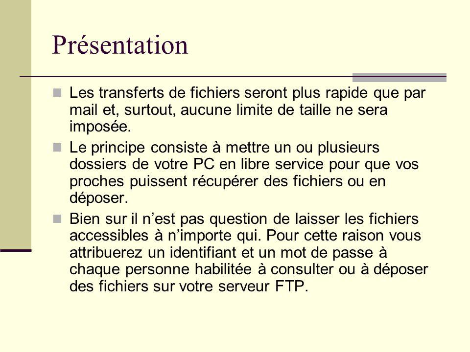 PrésentationLes transferts de fichiers seront plus rapide que par mail et, surtout, aucune limite de taille ne sera imposée.