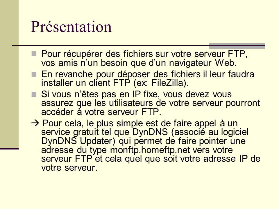 PrésentationPour récupérer des fichiers sur votre serveur FTP, vos amis n'un besoin que d'un navigateur Web.