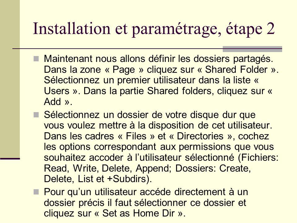 Installation et paramétrage, étape 2