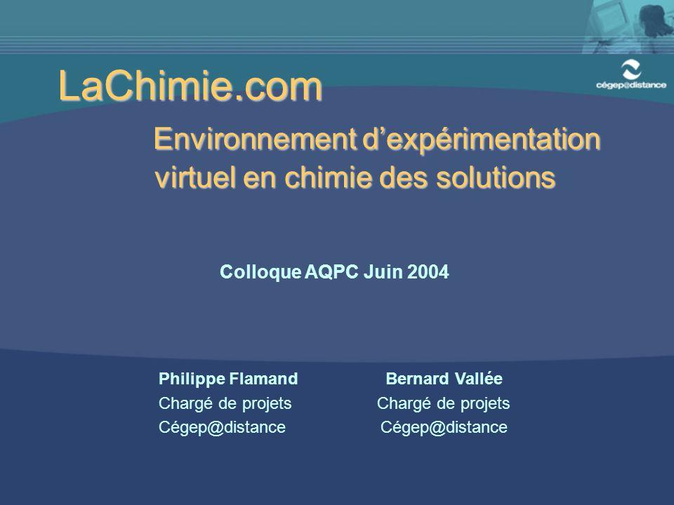 Environnement d'expérimentation virtuel en chimie des solutions