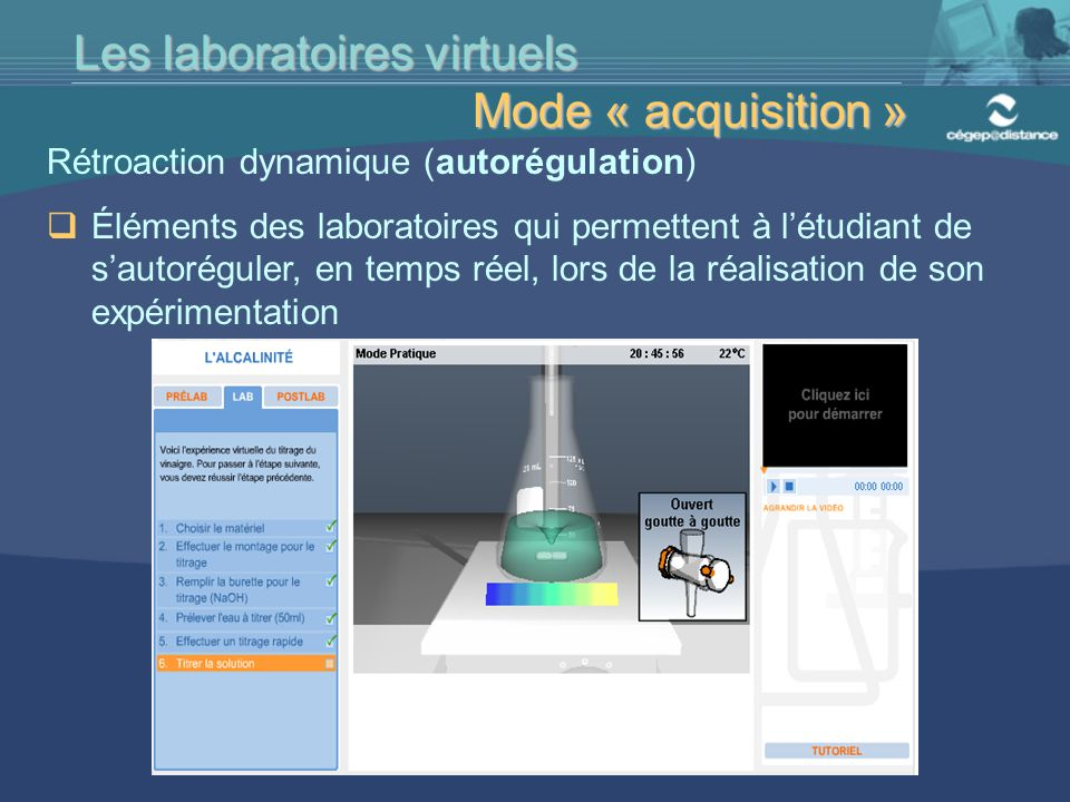 . . . . . Les laboratoires virtuels Mode « acquisition »