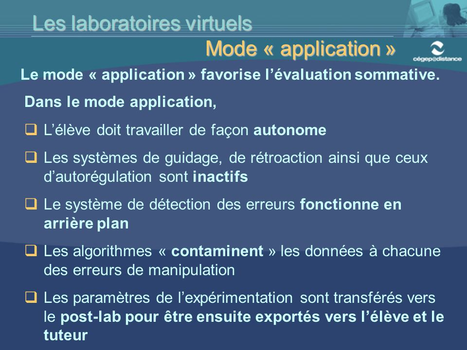 Les laboratoires virtuels Mode « application »