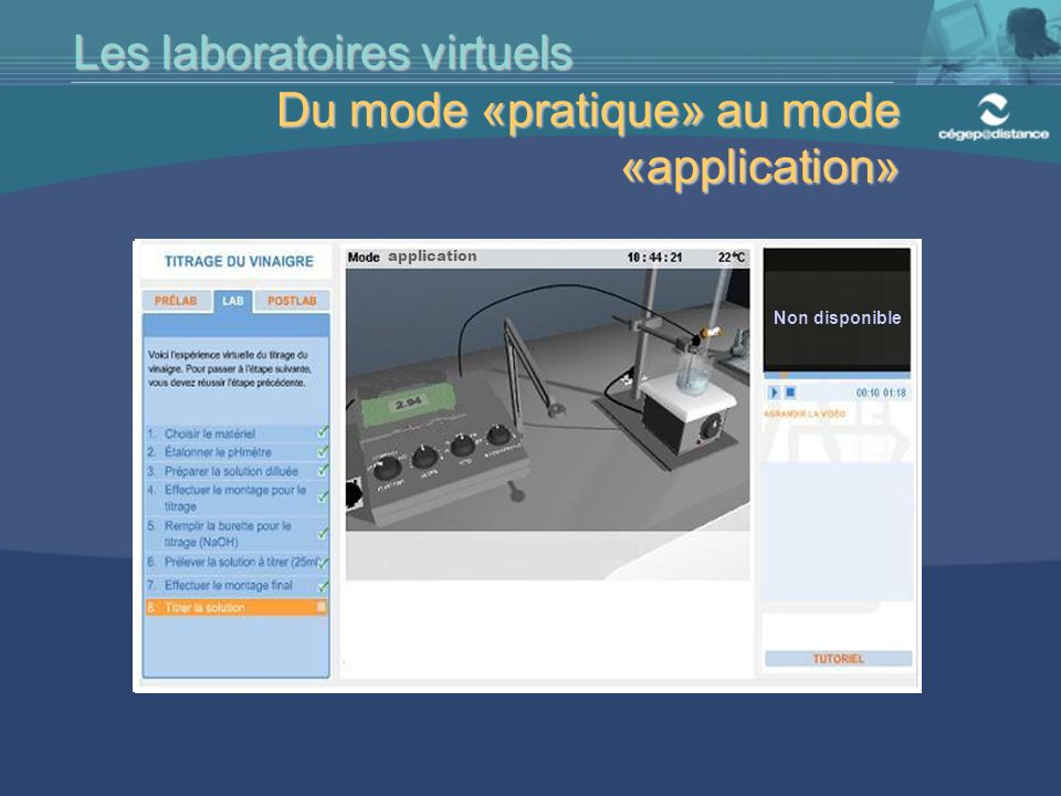 Les laboratoires virtuels Du mode «pratique» au mode «application»