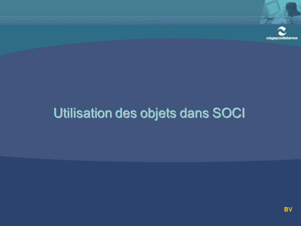 Utilisation des objets dans SOCI