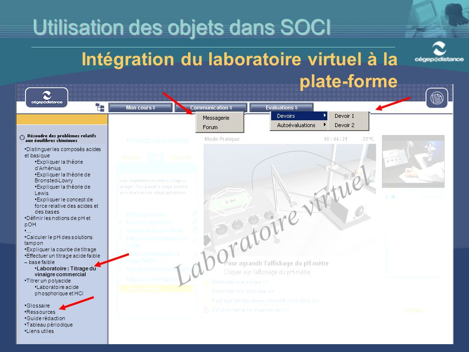 Laboratoire virtuel Utilisation des objets dans SOCI